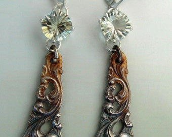 Green Amethyst and Sterling Spoon Earrings - Price Reduced