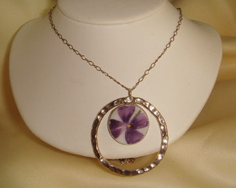 Violet Broken China  and Sterling Silver Pendant