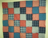 Rag Quilt Red White and Blue Homespun Squares Warm and Natural Quilt Batting