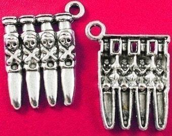 Skull Bullet Cartridge Charm lot of 6