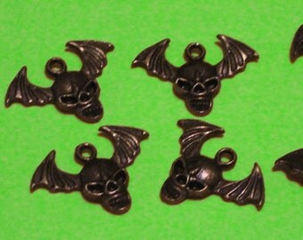 Bronze Skull with Wings Charm lot of 6