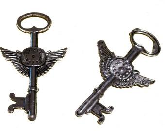 Winged Steampunk Clockwork Key Pendant Lot of 15