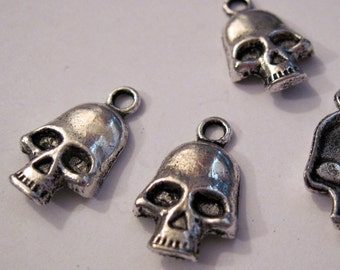 Silver Skull Charm lot of 6