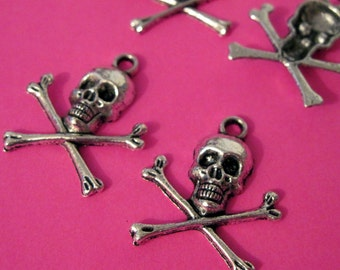 Silver Skull and Crossbones Charm lot of 6