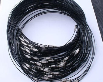 Stainless Steel Black Choker Necklace Cord 18inch