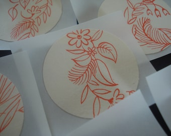 Red Floral Vintage stickers/seals