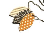 Charm Necklace Tiny Charm Necklace Vintage Inspired Necklace Shrink Plastic Necklace Black Necklace Yellow Necklace Mustard Yellow Necklace