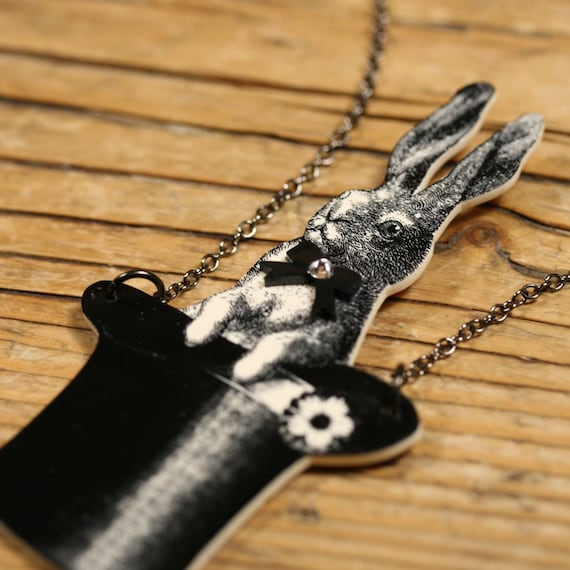 Bunny in a Top Hat Necklace - Magician - Abracadabra - Magic Bunny - Magic - Vegas - Bunny Jewelry - Black and White - Top Hat - Magic Show
