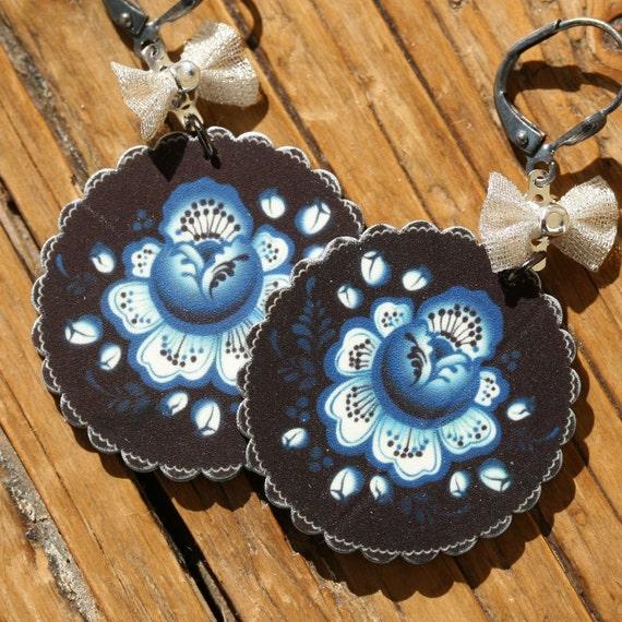 Blue and Black Flower Shrink Plastic Folk Art Dangle Earrings