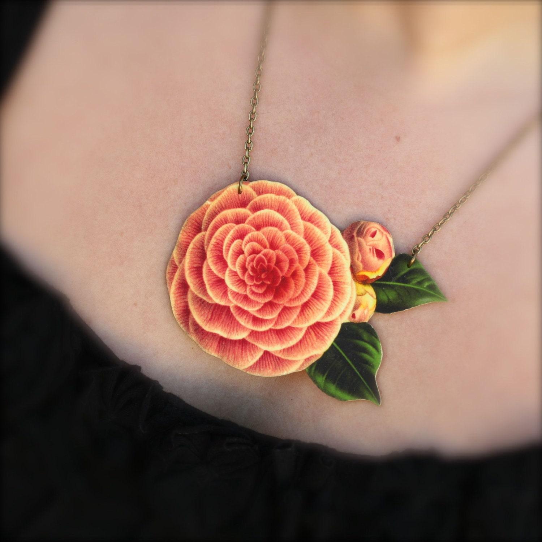 Flower Jewelry Flower Necklace Flower Pendant by mamaslittlebabies