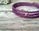 Summer of Love Collection initial bracelet amethyst purple seed beads stacking bracelets custom jewelry friendship bracelet wrap bracelet