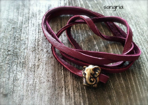 Lucky Elephant Leather Wrap Bracelet elephant jewelry elephant bracelet friendship bracelet layer stack spring fashion beach boho