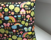 Japanese Kawaii Pillow in Black, Happy Rainbow Motifs for a Child's Room
