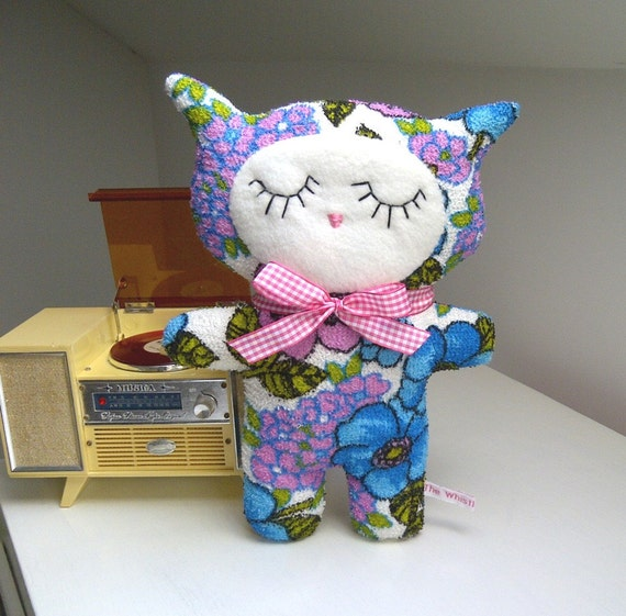 Blue Pop Flower Retro Kitten, Vintage Towelling Fabric Cat Plush, Soft Toy