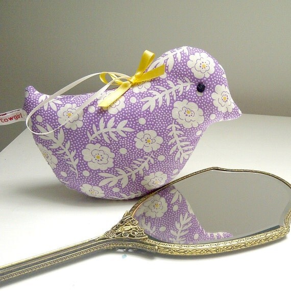 Boxingdaysale ALL ITEMS 25% off - Violet and Cream, Sweet Lavender Bird in Happy Pastels...Scented Home Decoration