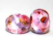 Pomegranate Breeze -  Round Glass Lampwork Bead Pair