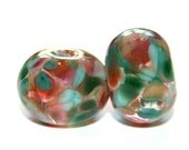 Mint Julep - Lampwork Bead Pair  - Handmade Glass