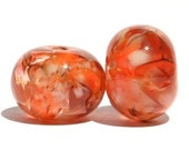 Orange Marmalade - Lampwork Glass Bead Pair
