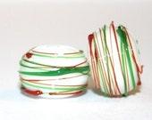 Christmas Swirls -  Round Glass Lampwork Bead Pair