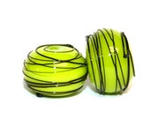 Lime Green and Black Threaded - Round Lampwork Bead Pair