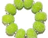 Glass Lampwork Beads Sugar Lime Green ...Yummy...