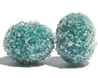 Teal Blue Sugar Bead Pair - Lampwork Glass