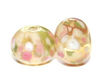 Lemon Grass - Lampwork Bead Pair - Lampwork Glass