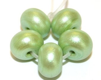 Lime Sparkle - Spacer Beads Glass Lampwork