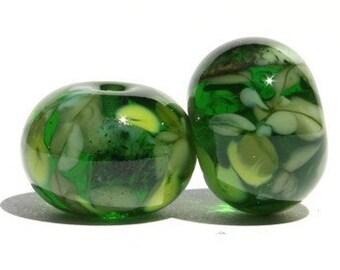 Tree Spirits - Lampwork Glass Bead Pair