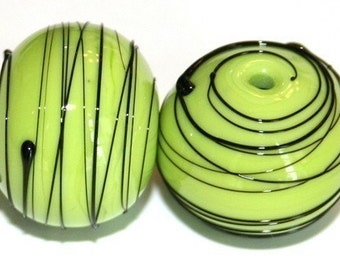 Lime Green Hollows Pair - Glass Lampwork Beads     Great for earrings.
