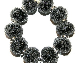 Jet Black Sugar Beads - Glass Lampwork Beads