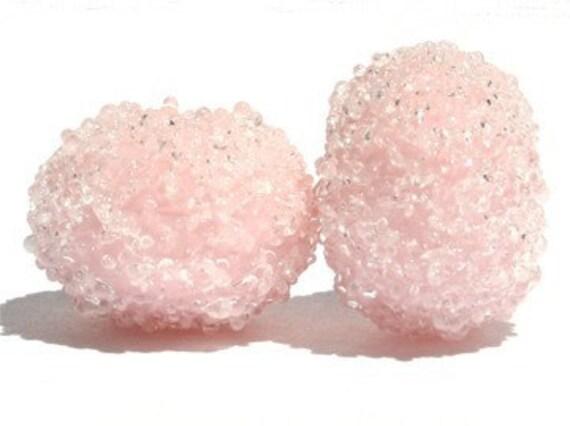 Desert Pink Sugar Bead Pair - Lampwork Glass