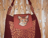 Tote Bag Purse For the CAT Lover Rust Color One of a Kind Abyssinian Occicat Leopard Spotted Cat