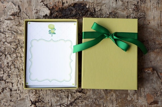 Evergreen and Chartreuse Boxed Stationery