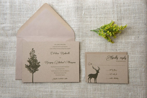 sample woodland rustic wedding invitations by amandadayrose With etsy woodland wedding invitations