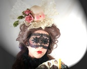 DAINTY DOLLY Antique Boudoir Doll Head And Lace Couture Cocktail Hat Sinister Victorian Gothic Lolita Steampunk