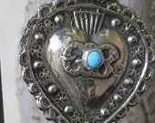 Sacred Heart Ex Voto Necklace with Turquoise Stone--Antique Ex Voto Replica White Brass Necklace