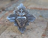 A Tattered Heart Ring-- Sacred Heart Ring from Antique French Medal 8.5