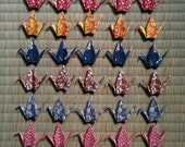 "50 Small Heavy Washi Cranes - 10 Designs, 3"" Heavy Washi Chiyogami, Origami Paper Cranes, Chiyogami Cranes, Place Card Holders,  Crane Bird"