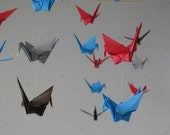 "22 Small Origami Cranes Mobile - Bright in the Sun, small 22 cranes, 3"" Solid Origami, Red, Turquoise, Brown, Gray, Home Decor, Nursery"