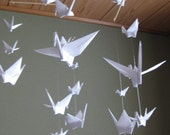"Reserved for Natalie - Mix Sized Origami Crane Mobile - Pure White, 22 cranes folded from 2"" (5cm) to 6"" (15cm) Solid Origami, Home Decor"