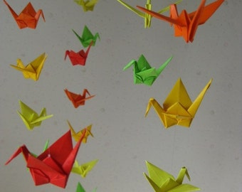 """34 Small Origami Cranes Mobile - Colorful Foliages, 34 cranes folded from 3"""" (7.5 cm) Solid Origami, Home Decor, Nursery Decor, Baby Mobile"""
