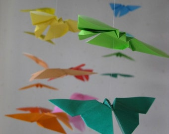 """34 Large Origami Butterflies Mobile - Rainbow Color, 34 butterflies, 4.6"""" Solid and Chiyogami, Nursery Decor, Home Decor, Baby Mobile"""