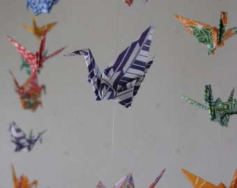 "34 Small Heavy Washi Chiyogami Cranes Mobile - folded from 3"" (7.5 cm) Heavy Washi Chiyogami, Home Decor, Nursery Decor, Peaceful"