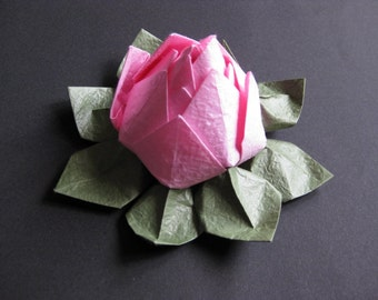 Origami Lotus Flower - Pink, Japanese Special Momigami, Anniversary, Hostess Gift, Birthday Gift, Table Decor, Get Well, Handmade, Wedding