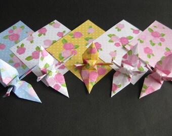 "40 Small Chiyogami Cranes - Rose Pattern (5 designs), 3"" (7.5cm) Japanese Chiyogami, Origami Paper Cranes, Chiyogami Cranes, Modern, Flower"