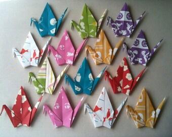 """14 Large Chiyogami Cranes - Tenugui (7 designs), 6"""" (15cm) Japanese Chiyogami Paper, Origami Paper Cranes, Paper Crane Origami, Kawaii"""