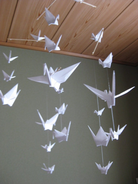 Mix Sized Crane Mobile Pure White 22 Cranes Folded From