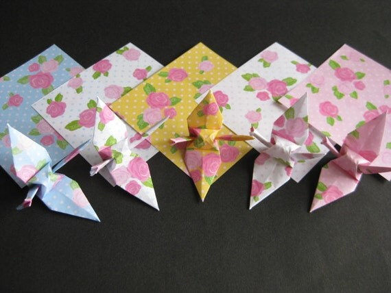 "40 Small Origami Cranes - Roses and Dots (5 designs), 3"" (7.5cm) Japanese Chiyogami, Origami Paper Cranes, Chiyogami Cranes, Modern, Flower"