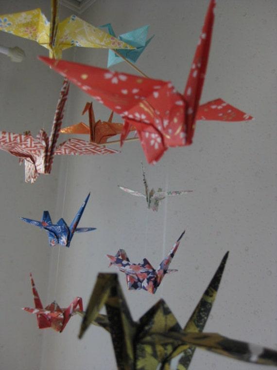 "14 Large Origami Cranes Mobile - Yuzen Printed Chiyogami, large 14 cranes folded from 6"" chiyogami paper, Yuzen Printed Chiyogami Paper"